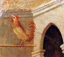 Duccio: Maestà: le Christ outragé, détail: le reniement de Pierre. 1308-1311. Tempera sur bois. Sienne, musée de l'Œuvre du Dôme