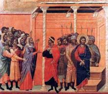 Duccio: Maestà: le Christ accusé par les Pharisiens. 1308-1311. Tempera sur bois, 49 x 57 cm. Sienne, musée de l'Œuvre du Dôme