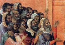 Duccio: Maestà: le Christ accusé par les Pharisiens, détail. 1308-1311. Tempera sur bois. Sienne, musée de l'Œuvre du Dôme