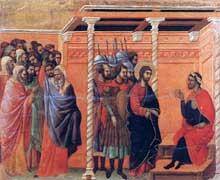 Duccio: Maestà: Pilate interroge le Christ une première fois. 1308-1311. Tempera sur bois, 49 x 57 cm. Sienne, musée de l'Œuvre du Dôme