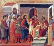 Duccio: Maestà: le Christ devant Hérode. 1308-1311. Tempera sur bois, 50 x 57 cm. Sienne, musée de l'Œuvre du Dôme