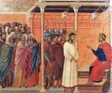Duccio: Maestà: le Christ devant Pilate. 1308-1311. Tempera sur bois, 50 x 57 cm. Sienne, musée de l'Œuvre du Dôme
