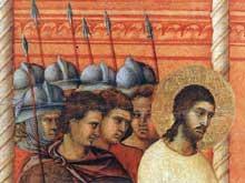 Duccio: Maestà: le Christ devant Pilate, détail. 1308-1311. Tempera sur bois. Sienne, musée de l'Œuvre du Dôme