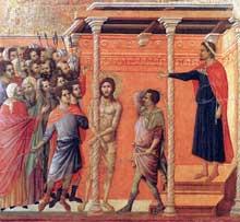 Maestà: la flagellation. 1308-1311. Tempera sur bois, 50 x 53,5 cm. Sienne, musée de l'Œuvre du Dôme