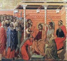 Duccio: Maestà: le couronnement d'épines. 1308-1311. Tempera sur bois, 50 x 53,5 cm. Sienne, musée de l'Œuvre du Dôme