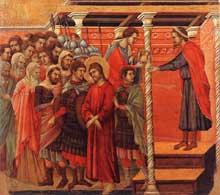 Duccio: Maestà: Pilate se lave les mains. 1308-1311. Tempera sur bois, 51 x 53,5 cm. Sienne, musée de l'Œuvre du Dôme