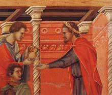 Duccio: Maestà: Pilate se lave les mains, détail. 1308-1311. Tempera sur bois. Sienne, musée de l'Œuvre du Dôme