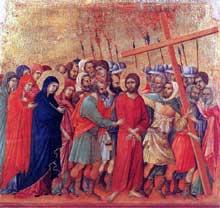 Duccio: Maestà: le chemin du calvaire. 1308-1311. Tempera sur bois, 51 x 53,5 cm. Sienne, musée de l'Œuvre du Dôme