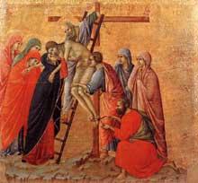 Duccio: Maestà: la déposition de la croix. 1308-1311. Tempera sur bois, 50,5 x 53,5 cm. Sienne, musée de l'Œuvre du Dôme