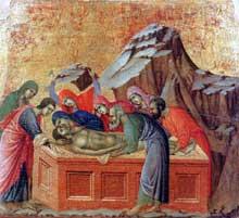 Duccio: Maestà: la mise au tombeau. 1308-1311. Tempera sur bois, 50,5 x 53,5 cm. Sienne, musée de l'Œuvre du Dôme