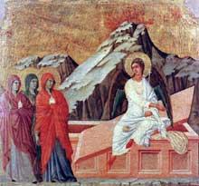 Duccio: Maestà: les trois Maries à la tombe. 1308-1311. Tempera sur bois, 51 x 53,5 cm. Sienne, musée de l'Œuvre du Dôme