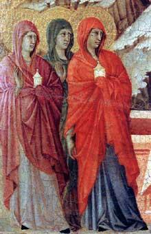 Duccio: Maestà: les trois Maries à la tombe, détail. 1308-1311. Tempera sur bois. Sienne, musée de l'Œuvre du Dôme