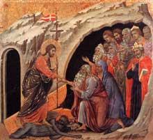 Duccio: Maestà: la descente aux limbes. 1308-1311. Tempera sur bois, 51 x 53,5 cm. Sienne, musée de l'Œuvre du Dôme