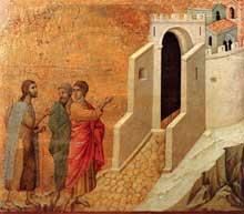 Duccio: Maestà: le chemin d'Emmaüs. 1308-1311. Tempera sur bois, 51 x 57 cm. Sienne, musée de l'Œuvre du Dôme