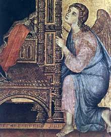 La Madone Rucellai, détail. 1285. Tempera sur bois, 450 x 290 cm. Florence, les Offices