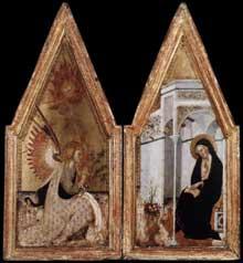Bartolo di Fredi: l'Annonciation. Vers 1383. Tempera sur panneau, 70 x 32 cm. Budapest, Musée des Beaux Arts