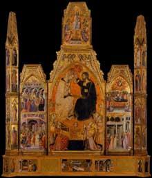 Bartolo di Fredi: le couronnement de la Vierge. 1388. Tempera sur panneau, 332 x 279 cm. Montalcino, Museo Civico e Diocesano d'Arte Sacra