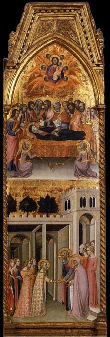 Bartolo di Fredi: le couronnement de la Vierge, détail. 1388. Tempera sur panneau, 332 x 279 cm. Montalcino, Museo Civico e Diocesano d'Arte Sacra
