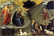 Bartolo di Fredi�: l�annonce � Joachim. Vers 1383. Tempera et or sur bois, 25 x 37 cm. Vatican, Pinacoth�que