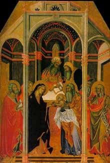 Bartolo di Fredi: la présentation au temple. Panneau de bois. Paris, Musée du Louvre