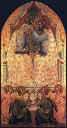 Gaddi Agnolo: Couronnement de la Vierge. Vers 1380. Panneau de bois, 182 x 94 cm. Londres, National Gallery