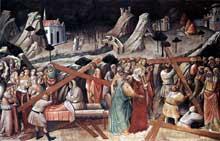 Gaddi Agnolo: Découverte de la vraie croix. 1380s. Fresque. Florence, Santa Croce