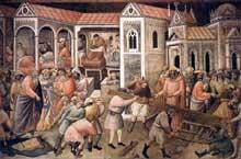 Gaddi Agnolo: La préparation de la croix. 1380s. Fresque. Florence, Santa Croce