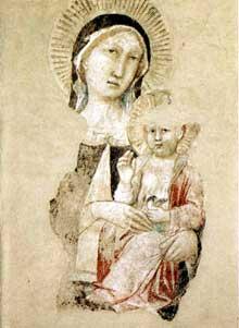 Gaddi Agnolo: Madone et enfant (fragment). Fresque. Prato, Musée de la peinture murale