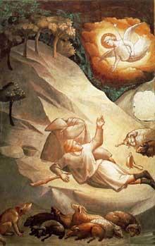 Taddeo Gaddi: L'annonce aux bergers. 1327-1330. Fresque. Florence, Santa Croce, Chapelle Baroncelli
