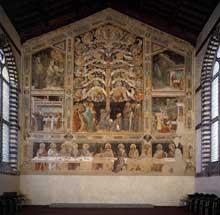 Taddeo Gaddi: La Cène, l'Arbre de Vie et 4 scènes de miracles. 1360s. Fresque, 1120 x 1170 cm. Florence, Santa Croce