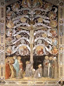 Taddeo Gaddi: L'Arbre de Vie ou allégorie de la Croix. 1330s. Fresque. Florence, Santa Croce