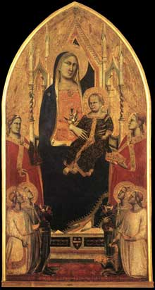 Taddeo Gaddi: Madone et enfant trônant avec anges et saints. 1355. Tempera sur bois, 154 x 80 cm. Florence, les Offices