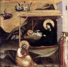 Taddeo Gaddi: nativité. Vers 1325. Tempera sur panneau de bois, 36 x 37 cm. Pedralbes, Fundación Colección Thyssen-Bornemisza
