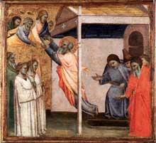 Taddeo Gaddi: l'assomption de Jean l'Evangéliste. 1348-1353. Tempera sur panneau de bois, 33 x 36 cm. Venise, collection Vittorio Cini