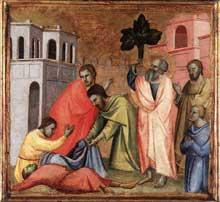 Taddeo Gaddi: Jean l'Evangéliste boit la coupe empoisonnée. 1348-1353. Tempera sur panneau de bois, 33 x 36 cm. Venise, collection Vittorio Cini