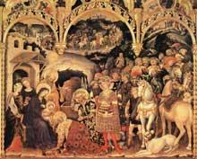 Gentile da Fabriano: Adoration des mages. 1423 Tempera sur bois, 300 x 282 cm. Florence, les Offices