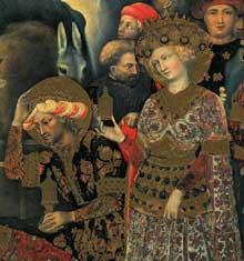 Gentile da Fabriano: Adoration des mages, détail. 1423 Tempera sur bois, 300 x 282 cm. Florence, les Offices