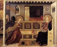 Gentile da Fabriano: Annonciation. Vers 1425. Tempera et feuille d'or sur bois, 41 x 48 cm. Vatican, Pinacothèque