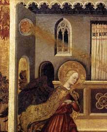 Gentile da Fabriano: Annonciation, détail. Vers 1425. Tempera et feuille d'or sur bois, 41 x 48 cm. Vatican, Pinacothèque