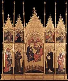 Gentile da Fabriano: Couronnement de la Vierge avec saints. Vers 1400. Tempera sur panneau de bois. Milan, Pinacothèque de la Brera