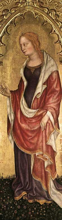 Gentile da Fabriano: Couronnement de la Vierge avec saints. Vers 1400. Tempera sur panneau de bois, 117 x 40 cm. Milan, Pinacothèque de la Brera