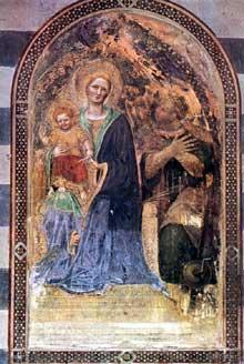 Gentile da Fabriano: Madone avec l'enfant. 1425. Fresque. Orvieto, Dôme