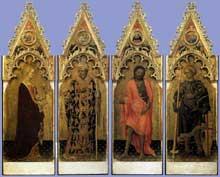 Gentile da Fabriano: Quatre saints du polyptyque Quaratesi: 1425. Tempera sur panneau de bois, 197 x 57 cm. (chaque panneau). Florence, les Offices