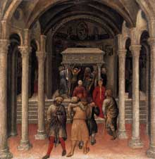 Gentile da Fabriano : Retable Quaratesi, prédelle : pélerins sur la tombe de Saint Nicolas de Bari. 1425. Panneau de bois, 36 x 35 cm. Washington, National Gallery of Art