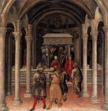 Gentile da Fabriano: Retable Quaratesi, prédelle: pélerins sur la tombe de Saint Nicolas de Bari. 1425. Panneau de bois, 36 x 35 cm. Washington, National Gallery of Art