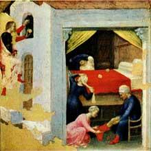 Gentile da Fabriano: Retable Quaratesi, prédelle: Saint Nicolas et les trios pauvres filles. 1425. Huile sur panneau de bois. Vatican, Pinacothèque.Pinacothèque