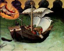Gentile da Fabriano: Retable Quaratesi, prédelle: Saint Nicolas sauve un navire pris dans la tempête. 1425. Huile sur panneau de bois. Vatican, Pinacothèque