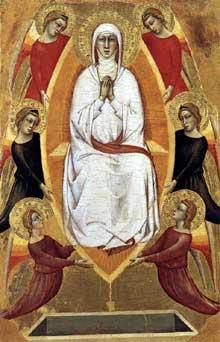 Don Silvestro dei Gherarducci: Assomption de la Vierge. Vers 1365. Tempera sur bois, 41 x 27 cm. Vatican, Pinacothèque