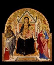 Don Silvestro dei Gherarducci: Madone et enfant avec les saints Jean Baptiste et Paul. Vers 1375. Tempera sur panneau de bois, 82 x 78 cm. Los Angeles, Los Angeles County Museum