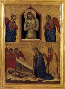 Francescuccio Ghissi: Crucifixion. Entre 1370 et 1380. Tempera sur bois. Chicago, Art Institute. La femme agenouillée à la droite de la croix est sans doute celle qui a commandé l'oeuvre